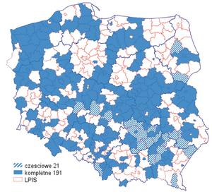 Co daje integracja usług? <br /> Mapa powiatów, których usługa WMS jest dodana do usługi zintegrowanej