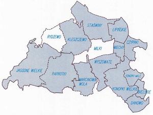 Powiat giżycki modernizuje zasób <br /> Załącznik do projektu modernizacji EGiB w jednostce ewidencyjnej Miłki; szrafurą oznaczono obręby przeznaczone do modernizacji (SIWZ)