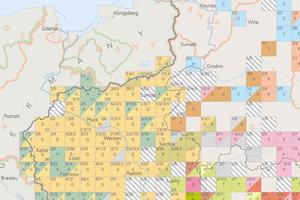 Odtwarzając zaginiony świat <br /> Fragment mapy obrazującej obszary przewagi głównych grup chasydzkich przed II wojną światową