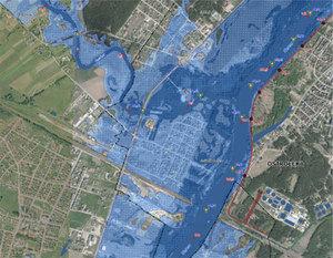 CBA przygląda się systemowi ISOK <br /> Mapa zagrożenia powodziowego - jeden z produktów projektu ISOK