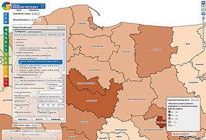 GUS szerzej otwiera dane <br /> Okno prowadzonego przez GUS Portalu Geostatystycznego
