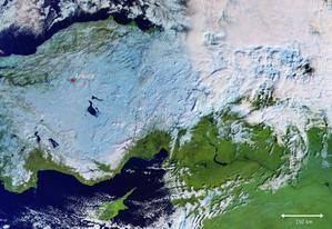 Śnieg w Turcji na zdjęciu z satelity Sentinel-3 <br /> fot. ESA