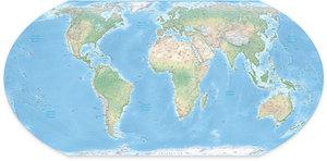 Mapa fizyczna Ziemi Equal Earth