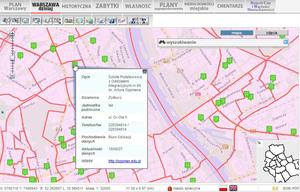 Stołeczny geoportal z mapą obwodów szkół podstawowych