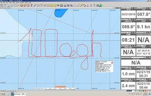 Napis &quot;100 AGH&quot; na śladzie GPS <br /> Ekran z komputera nawigacyjnego żaglowca STS Pogoria