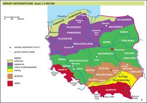 Jakie oferty w przetargu na atlas Polski dla niewidomych i słabowidzących? <br /> Przykładowa mapa atlasu, druk dla słabowidzących (Źródło: OPZ)