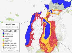 Światowe zasoby wody na mapach Google <br /> Jezioro Aralskie w aplikacji sdg661.app
