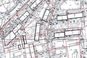 Kowal zawinił, Cygana powiesili <br /> Fragment osiedla spółdzielni mieszkaniowej; w tle granice działek ewidencyjnych - kolor czerwony
