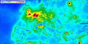 Sentinel-7 ma monitorować stężenie dwutlenku węgla <br /> Mapa stężenia dwutlenku azotu opracowana na podstawie danych z satelity Sentinel-5P