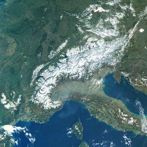 Imiona dla lodowców po satelitach <br /> Alpy (Fot. ESA)