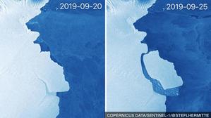 Oberwanie góry lodowej na Antarktydzie okiem Sentinela