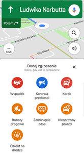 Bardziej rozbudowane raporty drogowe na Mapach Google