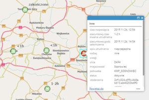 Dane śląskiej policji na cyfrowej mapie <br /> Mapa aktualnych zdarzeń drogowych