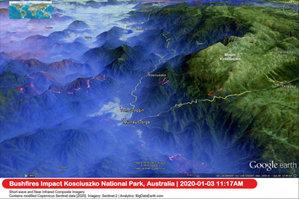 Australia w ogniu z perspektywy satelitów <br /> Park Narodowy Kościuszko 3 stycznia 2020 r. (źródło: ESA)