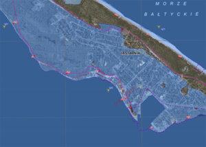 Mapy powodziowe dla wschodniego wybrzeża zaktualizowane <br /> Fragment mapy zagrożenia powodziowego