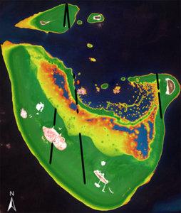 Satelitarny LiDAR znajdzie komercyjne zastosowanie <br /> Model batymetryczny dla atolu Baa na Malediwach opracowany na podstawie danych z satelity Sentinel-2A. Czarnym kolorem oznaczono ścieżkę danych wysokościowych z aparatu ICESat-2 (fot. TCarta)