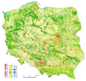 Kto opracuje system wykrywania zmian pokrycia terenu dla NCBR? <br /> Mapa pokrycia terenu CLC2006 (Źródło: GIOŚ)