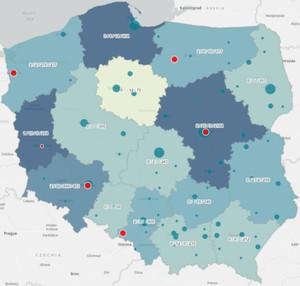 Mapa rozprzestrzeniania się koronawirusa w Polsce [aktualizacja] <br /> Mapa GIS-Expert