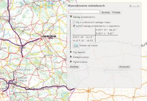 Geoportal: dane GDDKiA, aktualizacja BDOT10k, lepszy dostęp do metadanych <br /> Wyszukiwanie metadanych
