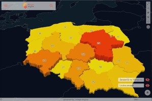 Zachorowania na koronawirusa na kartogramie <br /> Liczba zarażeń, stan na 27 marca