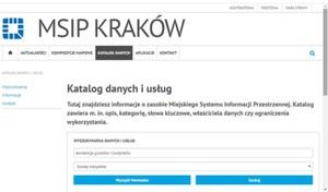 MSIP Krakowa z wyszukiwarką danych i usług