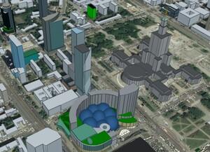 Cesium prezentuje budynki OSM w 3D