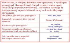 ePODGiK pozwala sprawdzić wynik weryfikacji pracy geodezyjnej <br /> Przykładowy wzór oświadczenia zaproponowany przez OZZG