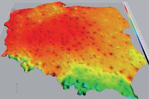 Poprawki ipogorszki <br /> Porównanie geoidy PL-geoid-2011 z modelem geopotencjalnym EGM08 dla wysokości normalnych (cięcie warstwicowe różnic wysokości centymetrowe, opis w metrach)