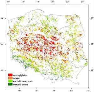 IGiK: susza w środkowym pasie Polski <br /> Stan na 20 czerwca 2019 r.