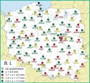 Klucze i wytrychy. Szukamy alternatywy dla zakładania punktów osnowy geodezyjnej <br /> Podział stacji na klasy ze względu na precyzję wyznaczonych współrzędnych poziomych (fot. Araszkiewicz i in., 2009, Raport WAT)