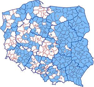 Komplet powiatów w integracji uzbrojenia terenu już w 4 województwach <br /> Aktualny zasięg usługi KIUT