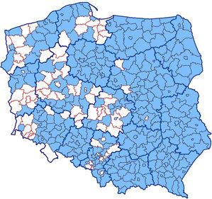 Połowa województw z kompletem powiatów w KIUT <br /> Zasięg KIUT (stan na 30 lipca)