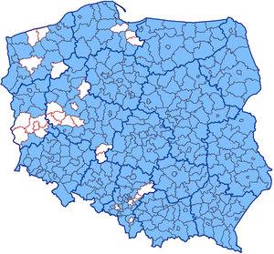 Kolejne 3 województwa z kompletem powiatów w KIUT <br /> Powiaty zasilające KIUT (stan na 8 sierpnia)