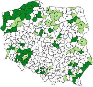 Zasilanie ZSIN wciąż jak po grudzie <br /> Powiaty, które zasiliły ZSIN dla całego terytorium (kolor ciemnozielony) i częściowo (jasnozielony)