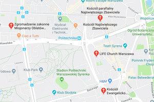 Poseł interweniuje ws. oznaczenia kościołów na Mapach Google <br /> Mapy Google po zmianie sygnatur dla kościołów