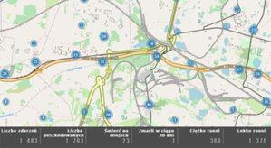 Dane śląskiej policji na cyfrowej mapie <br /> Statystyki zdarzeń drogowych