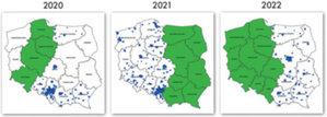 Lepsza prezentacja ortofotomapy w Geoportalu <br /> Plan aktualizacji ortofotomapy 25 cm (zielony) i 10 cm (niebieski)