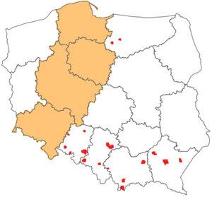 GUGiK zamawia ortofotomapę dla 91 tys. km kw. <br /> Zakres przetargu dla rozdzielczości 10 cm (kolor czerwony) i 25 cm (pomarańczowy)