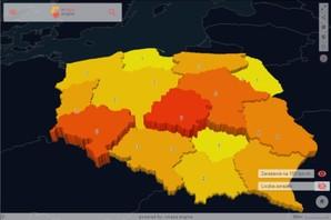 Zachorowania na koronawirusa na kartogramie <br /> Zarażenia na 100 tys. mieszkańców, stan na 27 marca
