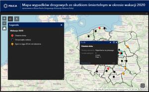 Policyjna mapa wypadków drogowych - wakacje 2020