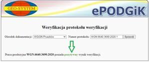 ePODGiK pozwala sprawdzić wynik weryfikacji pracy geodezyjnej