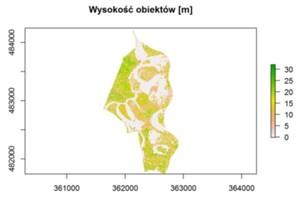 Pobieranie otwartych danych GUGiK w języku R [poradnik] <br /> Wysokość obiektów (rezerwat przyrody Krajkowo)
