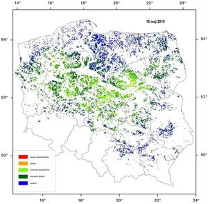 IGiK: susza w środkowym pasie Polski <br /> Stan na 10 maja 2019 r.
