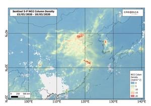Sentinel-5P: Czystsze powietrze nad Europą i Chinami podczas epidemii <br /> Chiny w dniach 15-18 marca 2020 r.