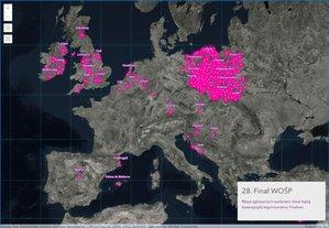 Mapy na 28. finał WOŚP <br /> Mapa zgłoszonych wydarzeń, które będą towarzyszyły tegorocznemu Finałowi