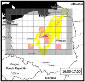 Przełom w tomografii GNSS <br /> Rys. 2. Mapa wyładowań (żółte punkty) na tle prognozowanych obszarów wyładowań (czerwone kwadraty)