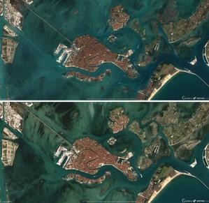 Mapy pokazują, czy przestrzegamy kwarantanny <br /> Zatoka Wenecka okiem Sentinela-2 8 lutego (góra) i 19 marca (dół)