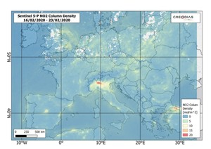 Sentinel-5P: Czystsze powietrze nad Europą i Chinami podczas epidemii <br /> Europa w dniach 16-23 lutego 2020 r.
