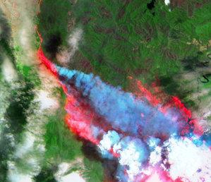 Australia w ogniu z perspektywy satelitów <br /> Park Narodowy Monga 31 grudnia 2019 r. (źródło: IGiK)