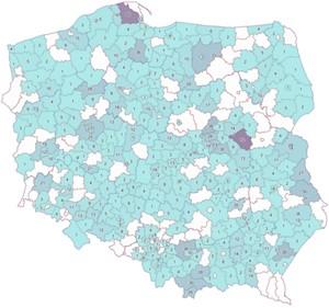 Plebiscyt GUGiK na najlepszy PODGiK rozstrzygnięty! <br /> Wyniki plebiscytu na mapie